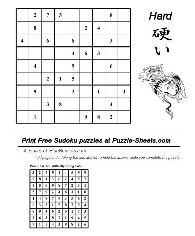 Bluebonkers : Free Printable Daily Sudoku Puzzle - HARD