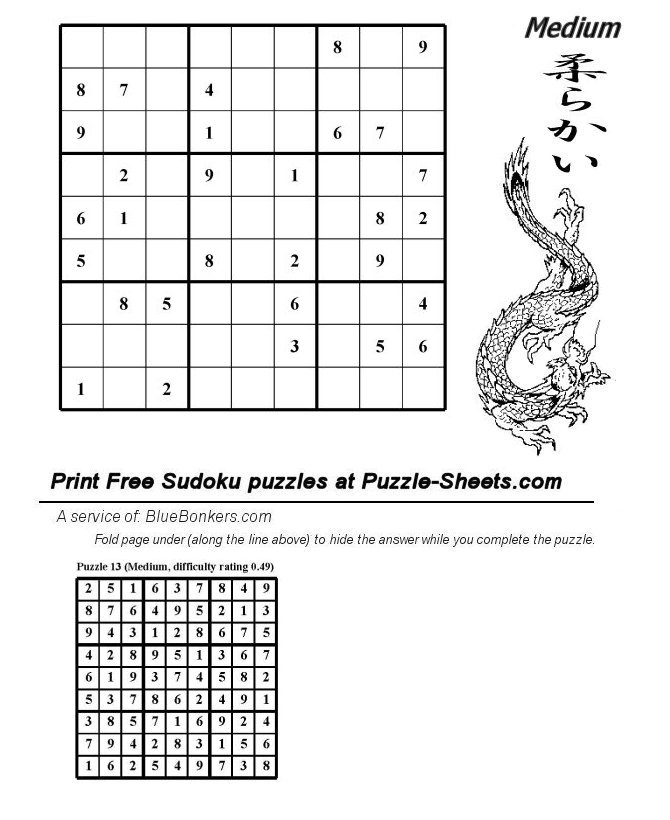 Bluebonkers : Free Printable Daily Sudoku Puzzle - MEDIUM