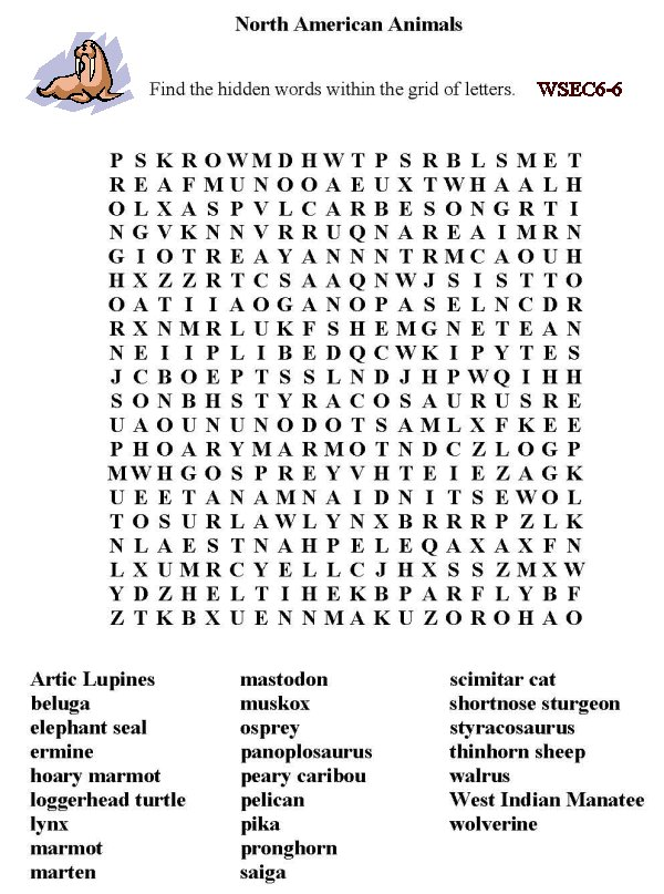 image relating to Animals Word Search Printable titled Bluebonkers - Free of charge Printable Phrase Look Sheet - North