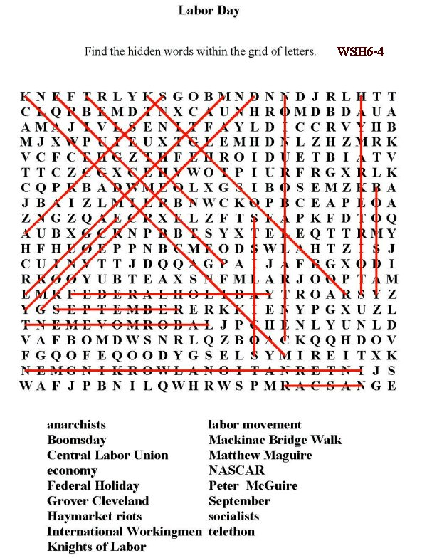 It's just a picture of Vibrant Labor Day Word Search Printable