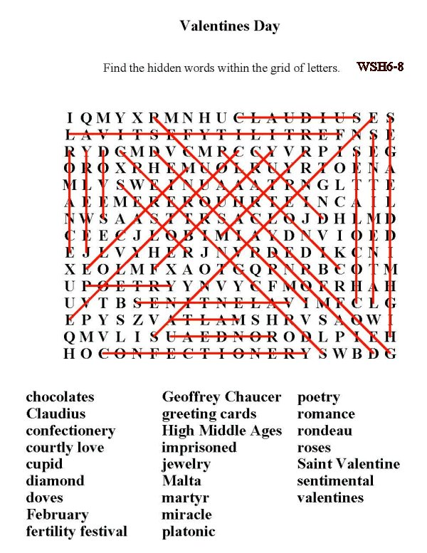 ... Puzzle Sheets > Word Search > Word Find: Holidays / Valentine's Day