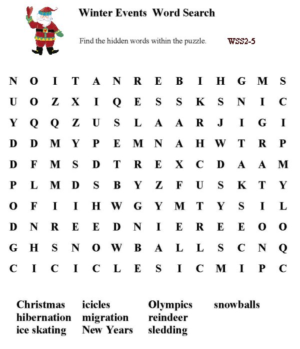 ... > Word Search > Word Find: Seasons / Winter Events and Activities