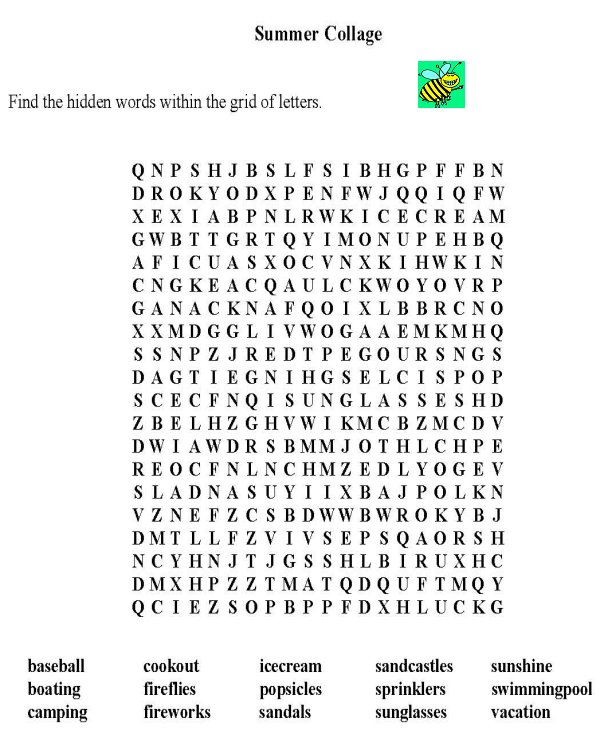 ... > Puzzle Sheets > Word Search > Word Find: Seasonal / Summer Collage